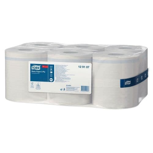 6 x Tork Basic Paper Centrefeed White Towel Rolls for M2 System 6x150m 2-PLY